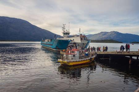 Villa Puerto Eden  Magallanes y la Antartica Chilena Region  Chile. march 24, 2017: boats in the port area of the village. Patagonia Editorial