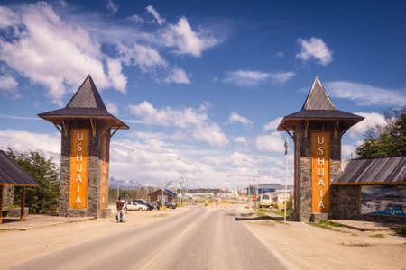 Entrance to Ushuaia city in Argentina patagonia tierra del fuego Editorial