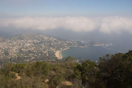 Panoramic of the coast town of Zapallar in Chile. Boldo national park