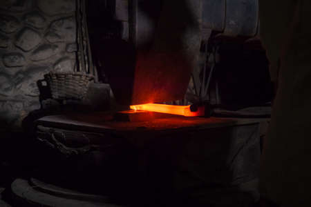 Blacksmith forging in the traditional way, as in the past, in the Legazpi smithy Imagens