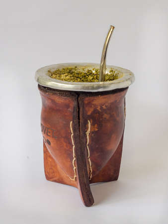 Mate or pumpkin to drink yerba mate infusions, detail