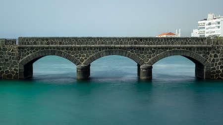 Bridge to the San Gabriel castle in Arrecife, Lanzarote. Long exposure. Canary Island