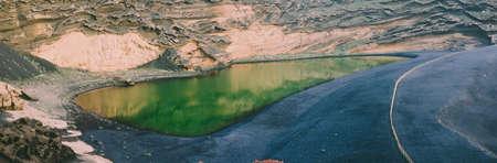 Laguna de los Clicos or green lagoon, El Golfo in Lanzarote, Canary Island