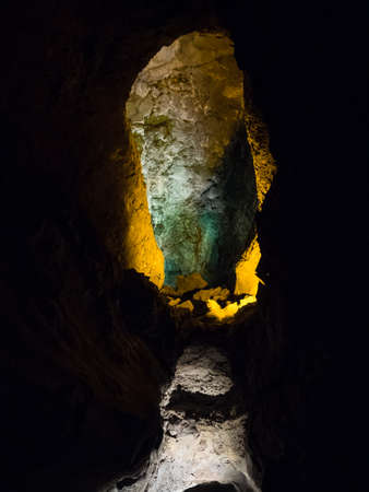 Interior of the Cueva de los Verdes in Lanzarote. Interior lighting of the cave. Canary Island
