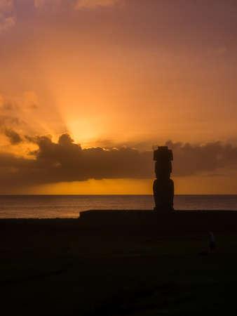 Moai in the Ahu Tahai during the sunset in Easter Island, Chile, South America. Hanga Roa city
