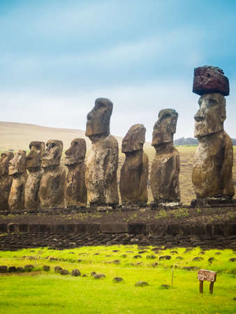 Moais at Ahu Tongariki in Easter island. The largest ahu in the island 15 moai
