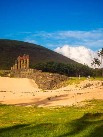 Moais of Ahu Nau Nau in Anakena beach in Easter Island, Chile Rapa Nui