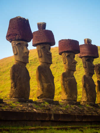 Moais of Ahu Nau Nau in Anakena beach in Easter Island, Chile