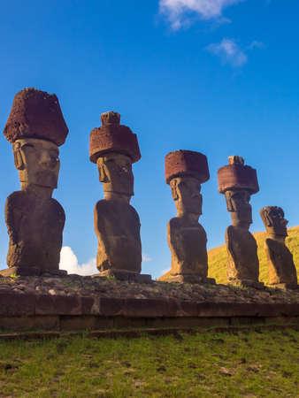 Ahu Nau Nau in Anakena beach. Easter Island in Chile. Rapa Nui