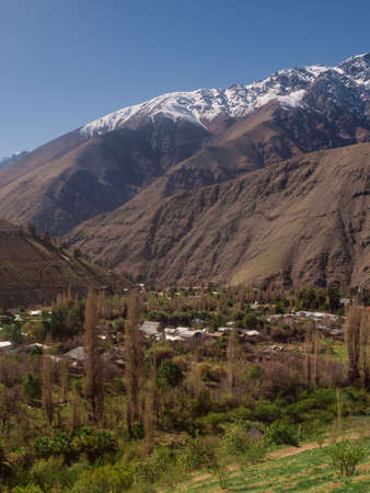 View of the Andes mountain range as seen from the Elqui Valley in Chile Stok Fotoğraf