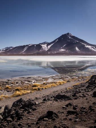 Laguna Blanca is a salt lake at the foot of the volcanos Licancabur and Juriques - Eduardo Avaroa Andean Fauna National Reserve, Bolivia. Uyuni