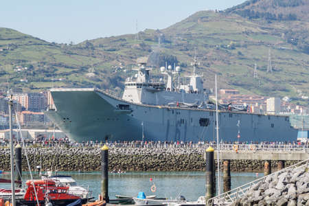 BILBAO, SPAIN - MARCH  232019. The aircraft carrier of the Spanish Navy Juan Carlos I in the port of Bilbao, open day to visit the ship. Editorial
