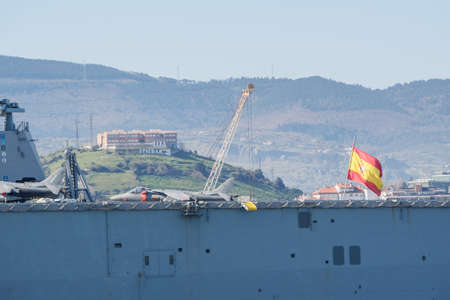 BILBAO, SPAIN - MARCH / 23/2019. The aircraft carrier of the Spanish Navy Juan Carlos I in the port of Bilbao, open day to visit the ship. Sunny day