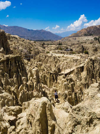 Unique geological formations cliffs shapes, Moon Valley park, La Paz mountains, Bolivia tourist travel destination. 스톡 콘텐츠 - 121509708