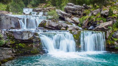 Waterfalls next to the trekking trails in the Ordesa y Monte Perdido National Park.