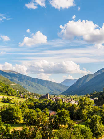 Broto, church with the mountains at bottom, Pyrenees, Aragon