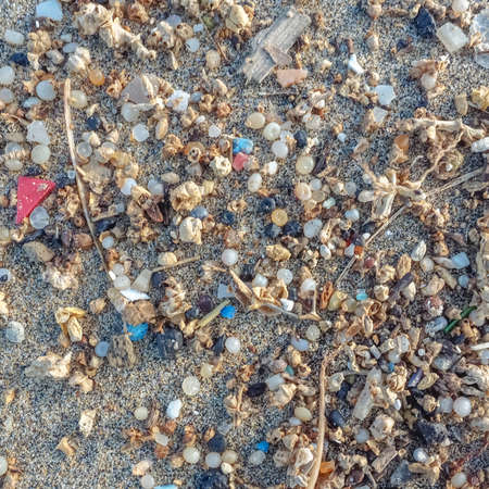 Microplastics found on the shore of a beach in Lanzarote. Sea pollution by plastic, Canary Islands
