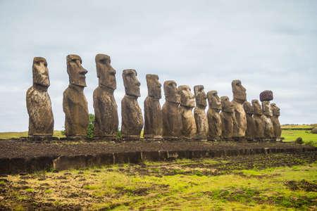 Moai statues on Easter Island. Ahu Tongariki, Chile, South America