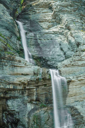 Two waterfalls in Broto, spanish Pyrenees. Huesca in Aragon province