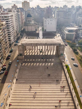 Views from the monument to the flag in the city of Rosario in Argentina
