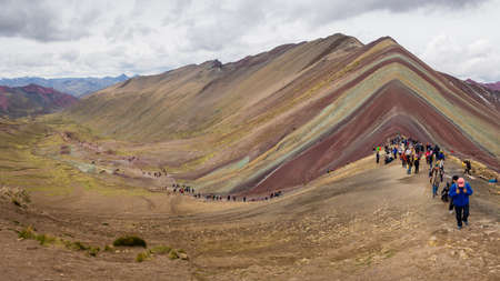 NOVEMBER92017 PERU Vinicunca or Rainbow Mountain. Tourist massification. Tourism sustainability problems Editorial