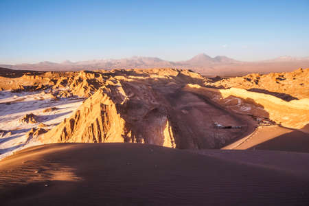 Aerial view of the Valley of the Moon in San Pedro de Atacama during sunset in northern Chile. Archivio Fotografico
