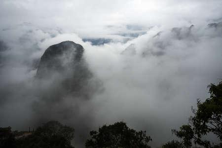 Mountains around Machu Picchu among the morning mists, Cuzco Peru