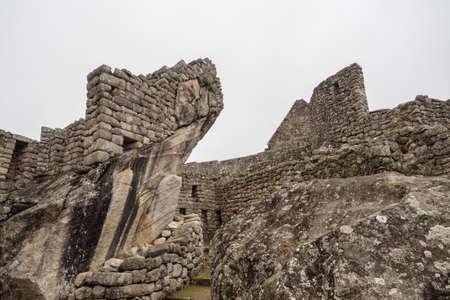 Detail of the architecture in the Inca ruins of Machu Picchu, Cuzco Peru
