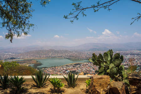 Views of the city of Cochabamba from the Cerro de San Pedro in Bolivia