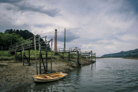 Old wooden docks in the Urdaibai Biosphere Reserve in the Basque Country, Spain