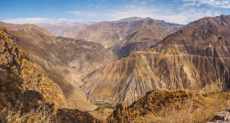 Colca Canyon from Cabanaconde in Peru. The deepest canyon on earth Фото со стока - 131992313