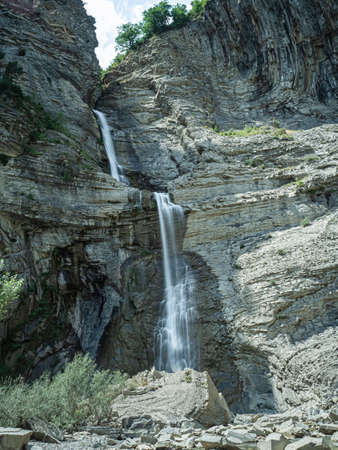 Two waterfalls in Broto, spanish Pyrenees in Huesca