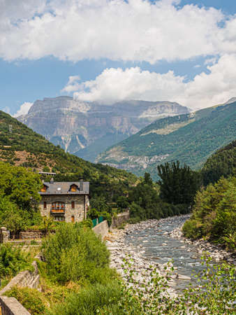 Ara River Valley from the village of Broto, Ordesa y Monte Perdido National Park in the Pyrenees of Huesca, Spain Фото со стока
