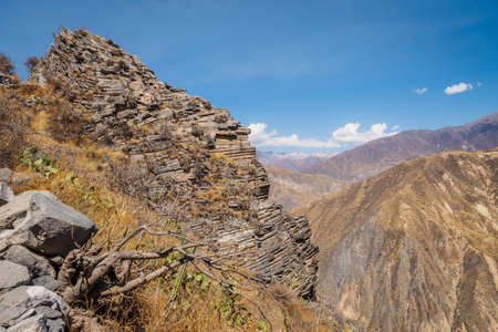Colca Canyon from Cabanaconde in Peru. The deeppest canyon on earth. Фото со стока - 131750216