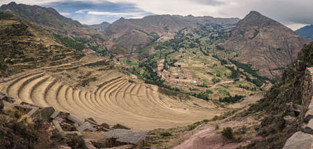 View from the Inca ruins of Pisac in Peru. Inca cultivation terraces.