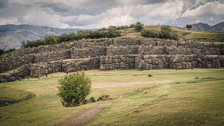 Inca ruins of Sacsayhuaman in the city of Cusco in Peru, panoramic view. Giant rocks Archivio Fotografico
