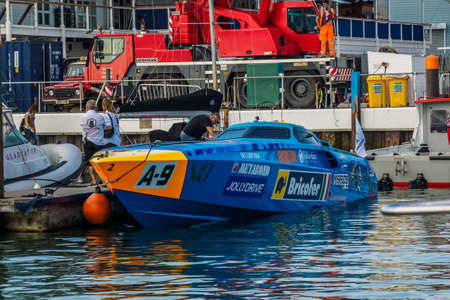 Cowes 25 August 2019 Speed boat race on the Isle of Wight Фото со стока - 132427179