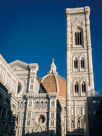Detail of the cathedral of Florence with a blue sky, il Duomo