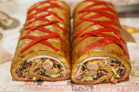 Argentine Christmas pionono stuffed with salad, typical Christmas dish in Argentina