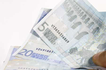 slight: Some money of europe in a hands for buy something