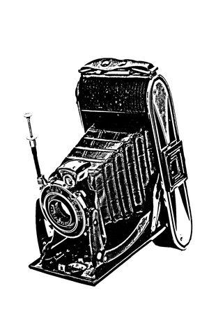 siluet: An old camera of negative medium format Stock Photo
