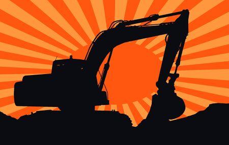 big bulldozer on a sunset photo