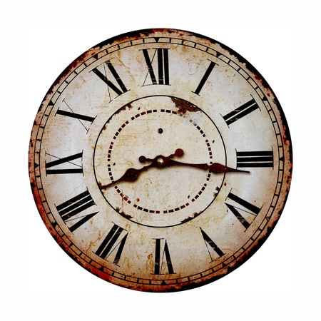 白で隔離される古いとビンテージの時計 写真素材