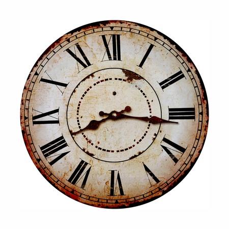 reloj antiguo: reloj viejo y de la vendimia aislado en blanco Foto de archivo
