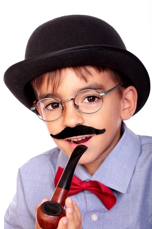 portrait of a boy with a hat, pipe and mustache photo