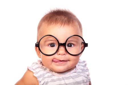 portrait of a beautiful baby with glasses Stockfoto