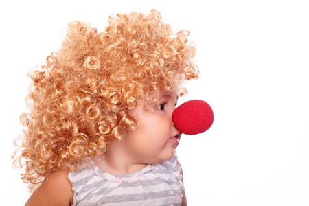 little clown baby with a red nose photo