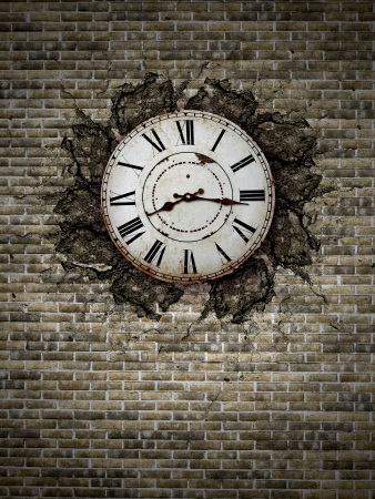 old vintage clock on a brick wall photo