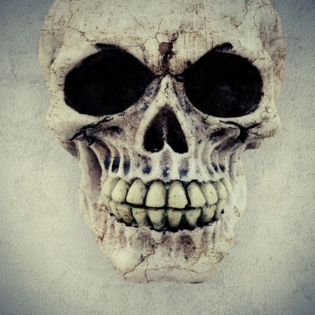 evil skull: a macabre human skull on a textured background