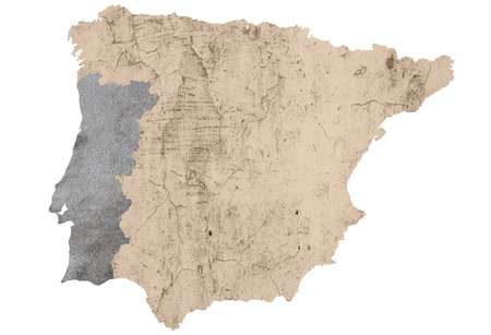 iberian: una mappa della penisola iberica con texture e isolati su bianco